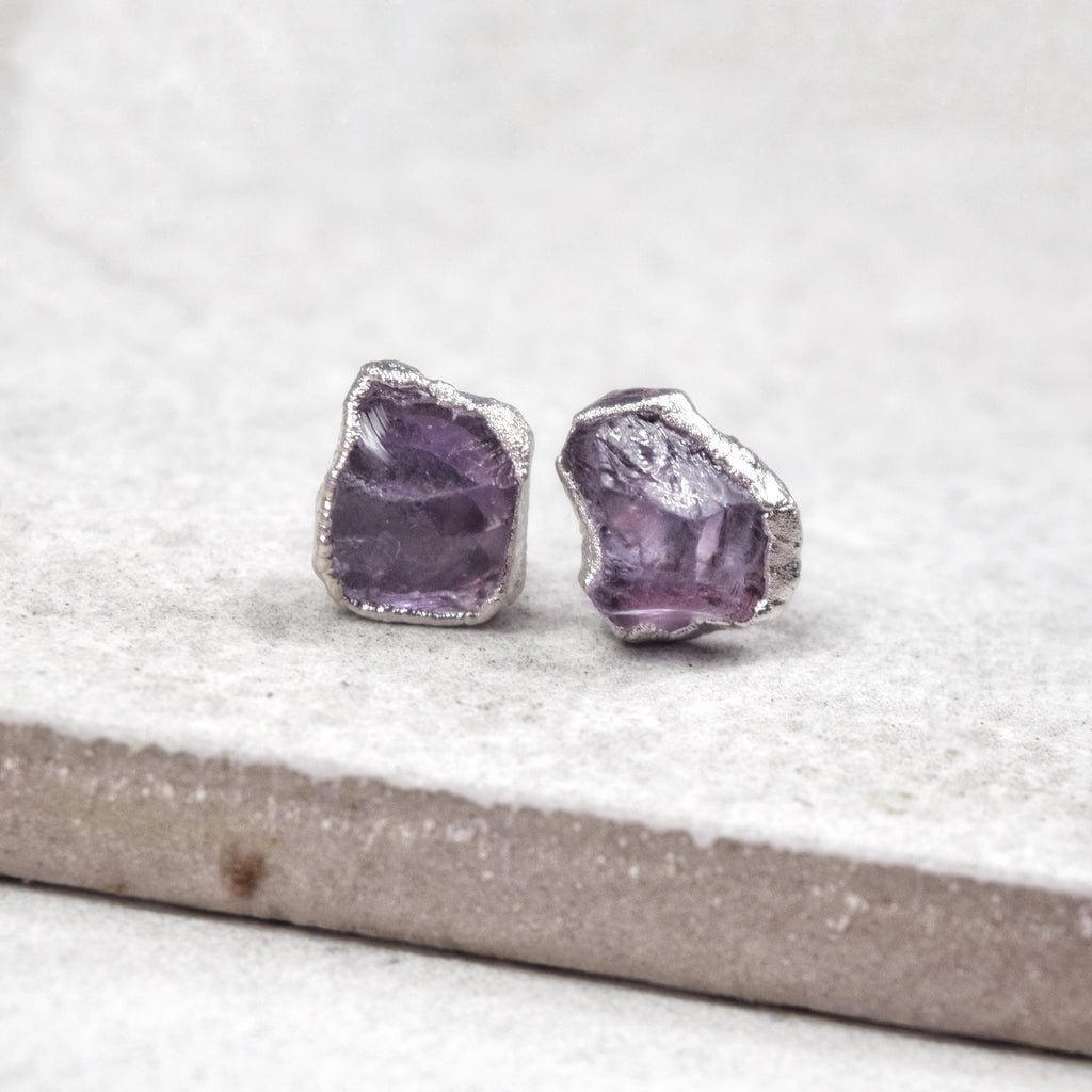 Rhodium Amethyst Studs - Maverick Objects