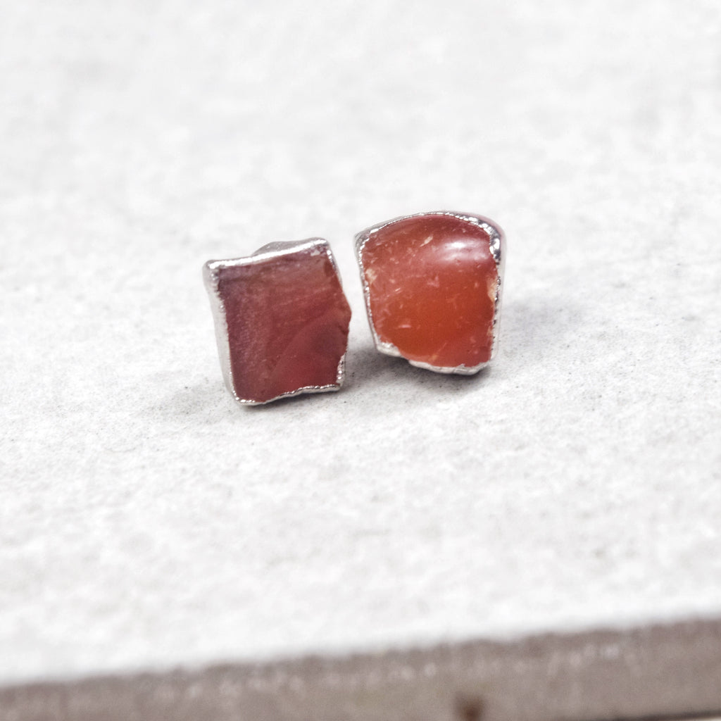 Rhodium Carnelian Studs - Maverick Objects