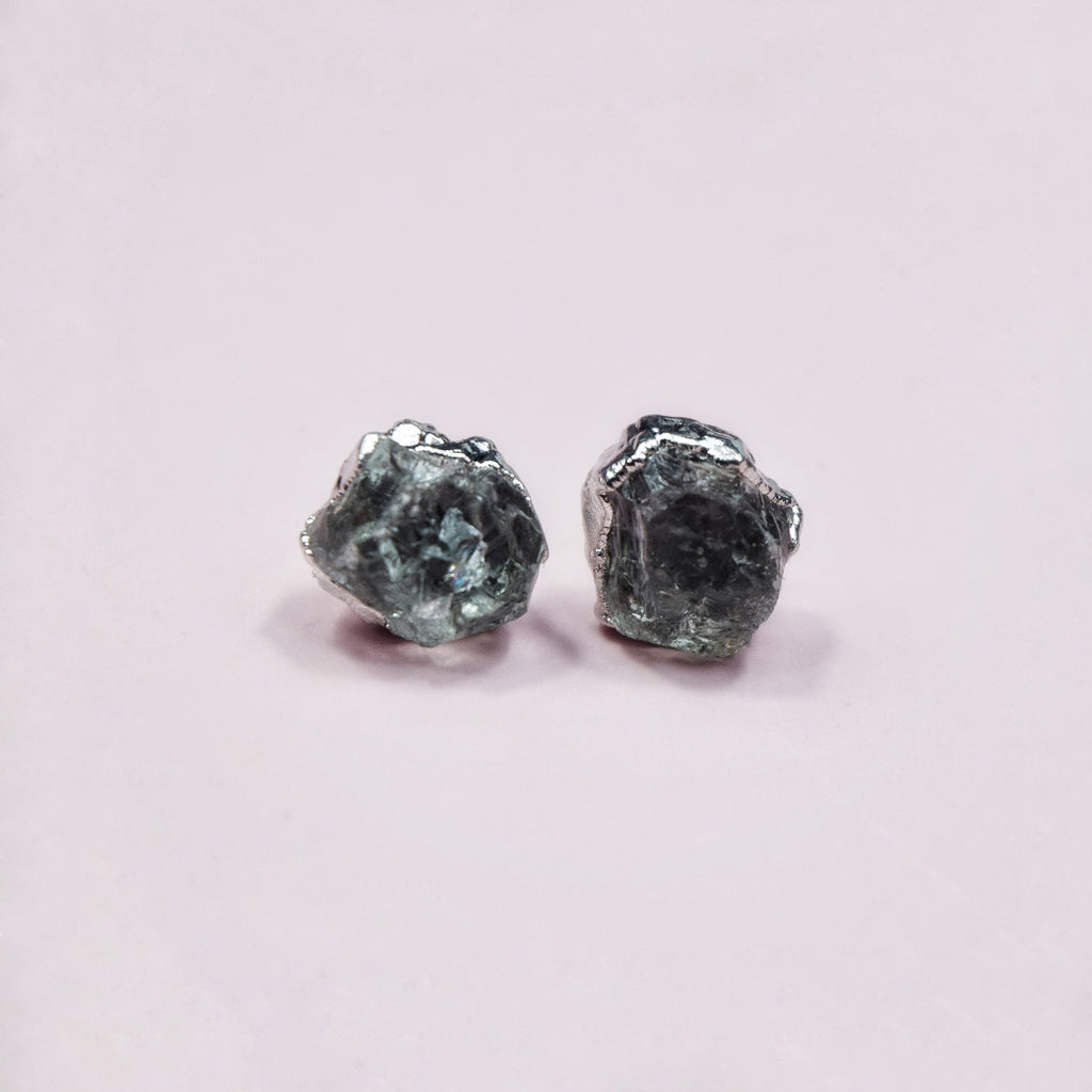 Rhodium Green Amethyst Studs - Maverick Objects
