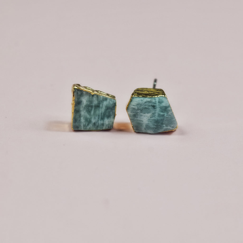 Gold Amazonite Studs - Maverick Objects