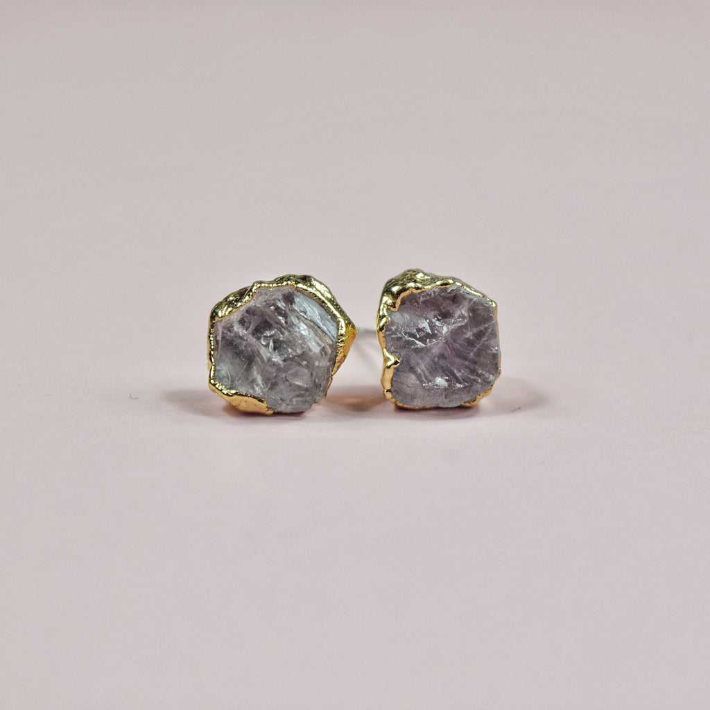 Gold Rose Quartz Studs - Maverick Objects