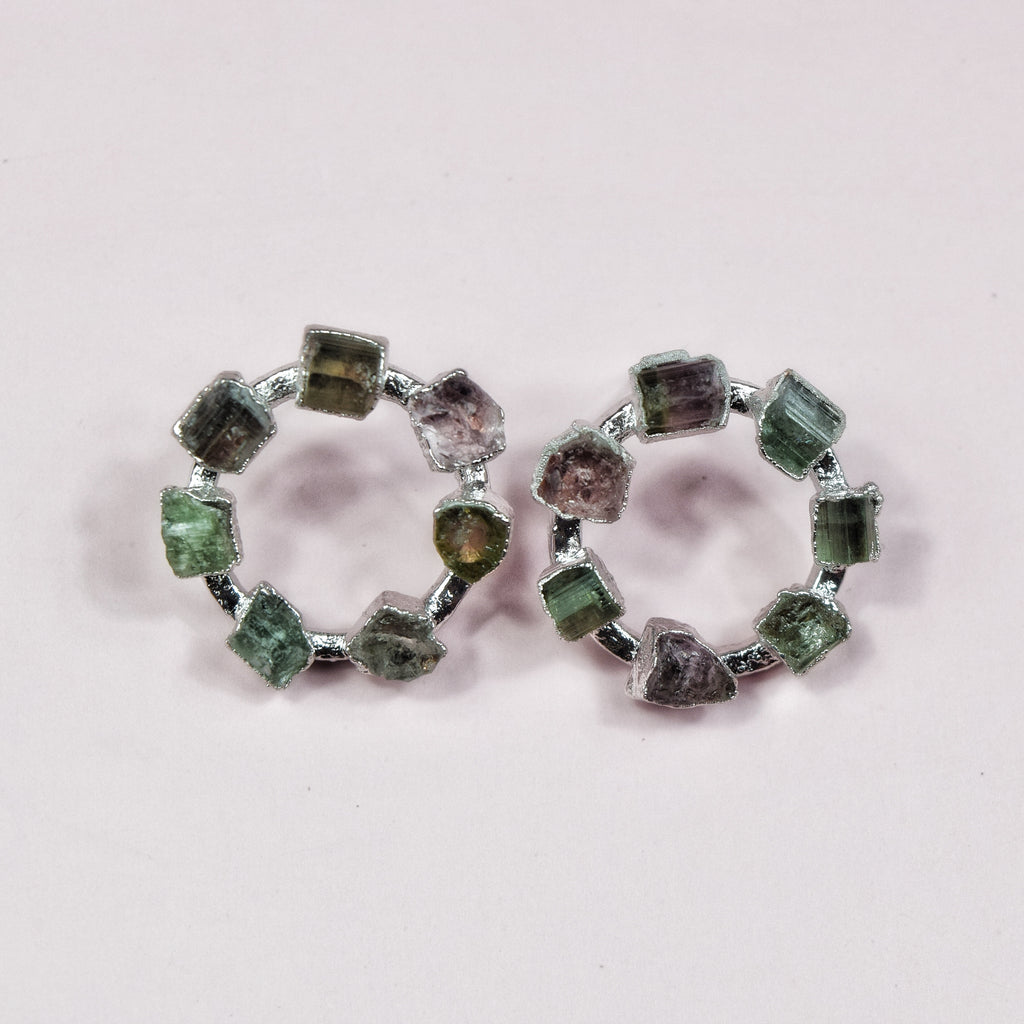 Tourmaline Blossom Hoops | Rhodium - Maverick Objects