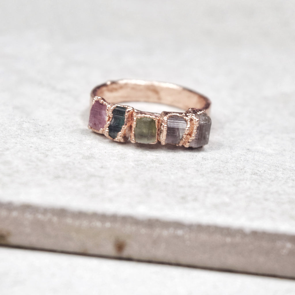 Rose Gold Tourmaline Stacker Ring - Maverick Objects