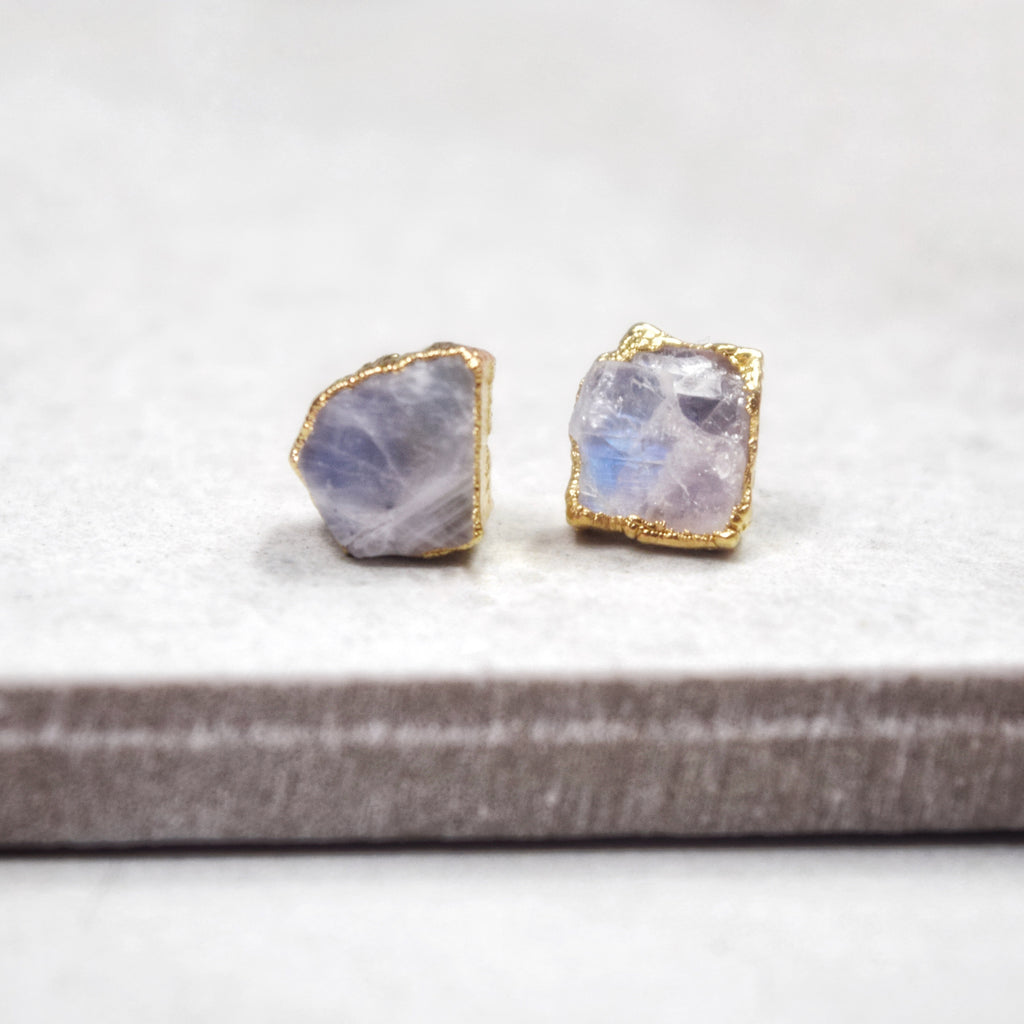 Gold Moonstone Studs - Maverick Objects
