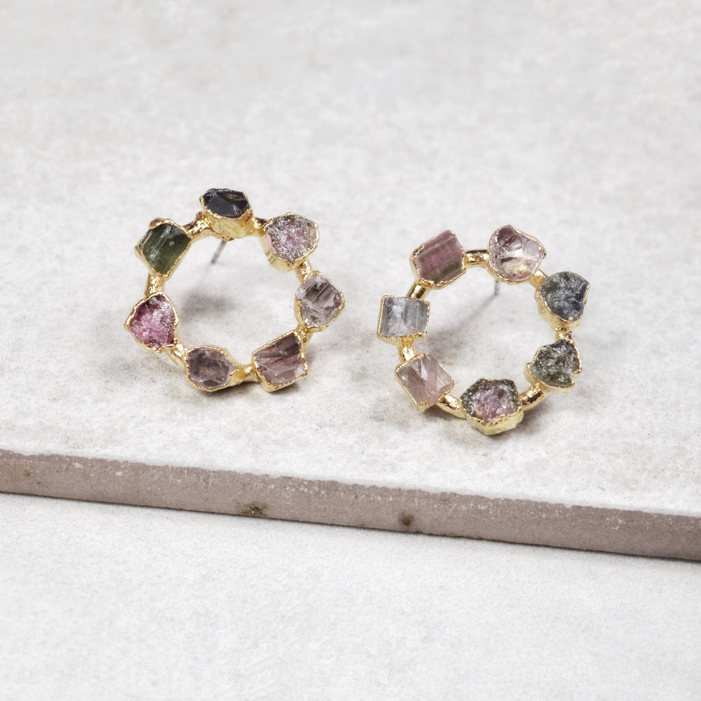 Tourmaline Blossom Hoops | Gold - Maverick Objects