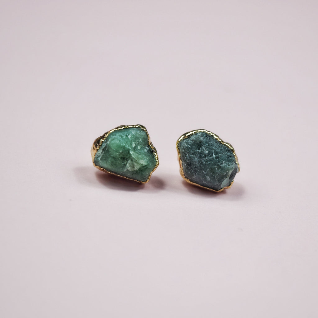 Gold Emerald Studs - Maverick Objects