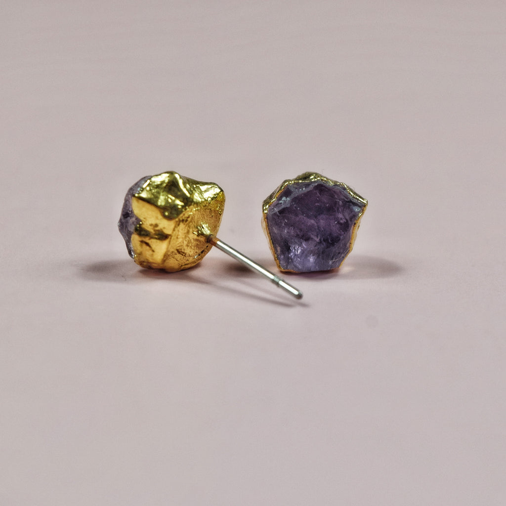 Gold Amethyst Studs - Maverick Objects