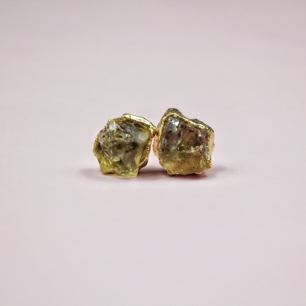 Gold Citrine Studs - Maverick Objects