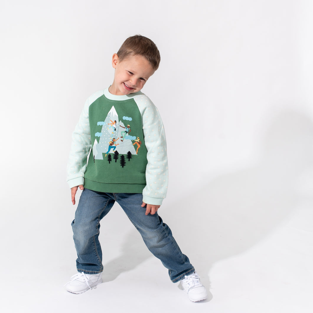 Raglan Applique Sweatshirt - Mountain Climbing