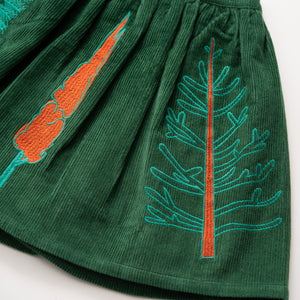 Embroidered Corduroy Skirt - Botany