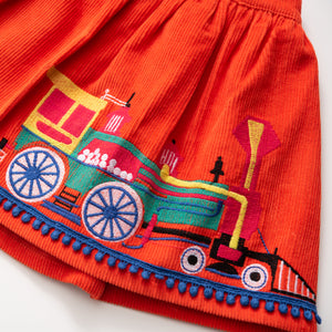 Embroidered Corduroy Skirt - Locomotives