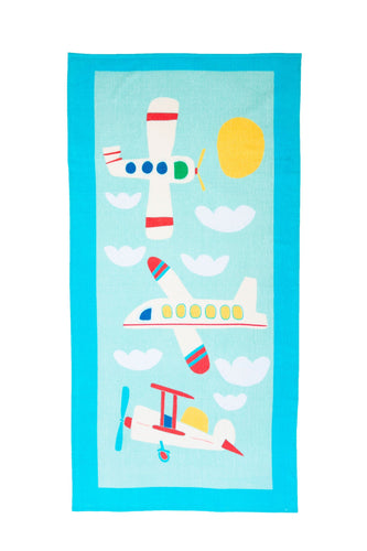 Cotton Printed Beach Towel - Aviation