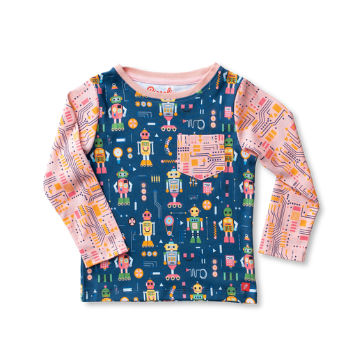 Printed Long Sleeve Tee Shirt - Robotics