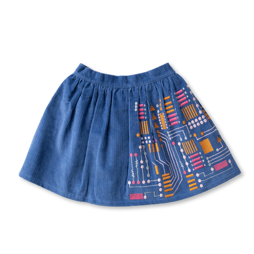 Embroidered Corduroy Skirt - Robotics