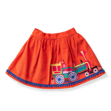 Load image into Gallery viewer, Embroidered Corduroy Skirt - Locomotives