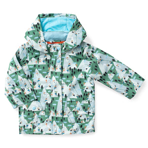 Printed Hooded Raincoat - Mountain Climbing