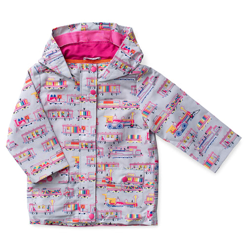 Printed Hooded Raincoat - Locomotives