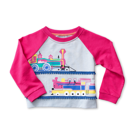 Raglan Applique Sweatshirt - Locomotives