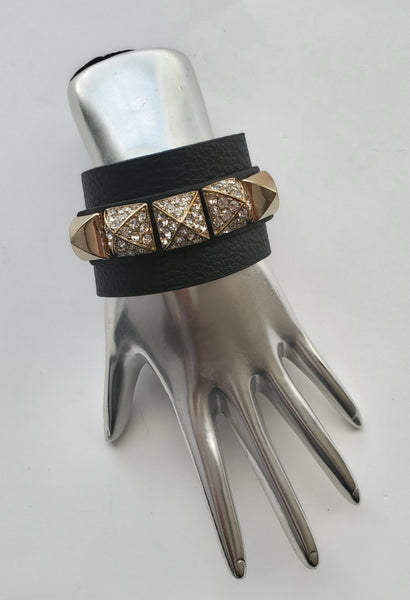 Golden Pyramid Black Bracelet