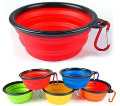 3 Collapsible Travel Dog Food Water Bowls BPA Lead Free Carbiners Red Blue Mixed
