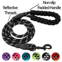 5FT Reflective Dog Leash Nylon with Padded Handle