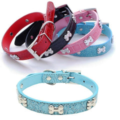 DOG BONES Studs Dog PU Faux Leather Collar Puppy Cat Small XS S M Adjustable