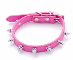 Studded Small Spiked Rivet Dog Pet Leather Collar Pink Red Black Purple Small XS