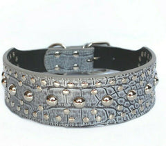 Studded Rivet Spiked Metal Dog PU Faux Leather Collar Pitbull Mastiff BLACK RED