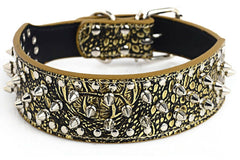 CROCODILE GOLD Spiked Studded Rivet PU Leather Dog Pet Collar XS S M L XL LARGE