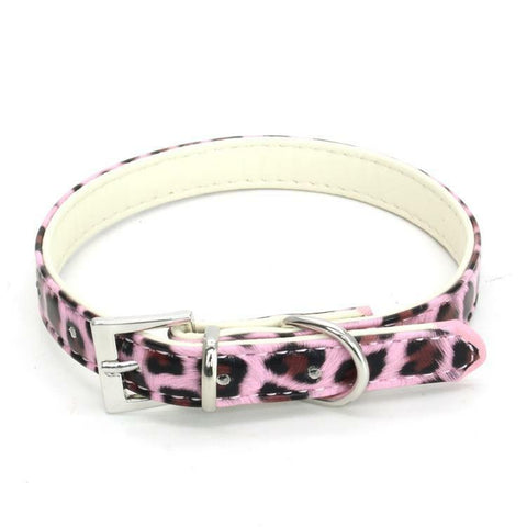 Dog Faux Leather Adjustable Collar Pet Puppy Cat Leopard Print Animal Red XS S M