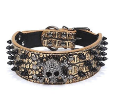 Large Spiked SKULL Stud Metal Dog PU Leather Collar Pit Bull Mastiff Rivet BLACK