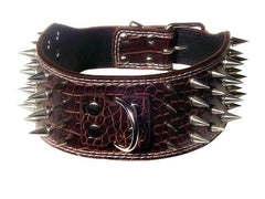 "3"" WIDE RAZOR SHARP Spiked Studded Leather Dog Pet Collar 4-ROWS 19-22"" 21-24"""