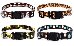 Adjustable Designer Nylon Dog Pet Collars Patterns Colors Durable Woven Soft