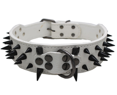 "RAZOR SHARP Spiked Studded Rivet PU Leather Dog Pet Puppy Collar 2"" Large BLACK"
