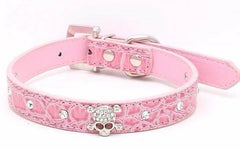 SKULL Diamond Crystal Rhinestone Leather Dog Cat Collar Puppy Blink Pink Cutie