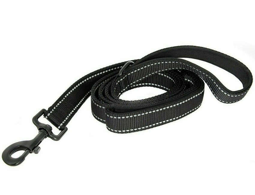 5FT DOUBLE HANDLE Rope Leash Lead Padded Handle Reflective East 2Clip To Harness