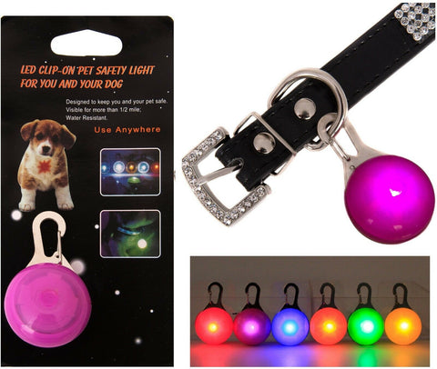 Pet Dog LED Flashing Blinking Pendant Bulb Buckle Clip Glow Safety 4 Collar Neck