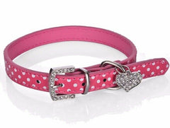 Pet Cat Dog Adjustable PU Leather Polka Dot Rhinestone Buckle Neck Dotted Collar