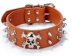 SKULL Metal Studded Spiked Rivet Dog PU Leather Collar Pitbull Mastiff Black M L