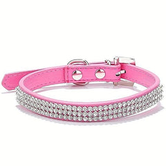 Pretty Diamond Crystal Rhinestones Leather Bling Collar for Dog Puppy Cat Kitten