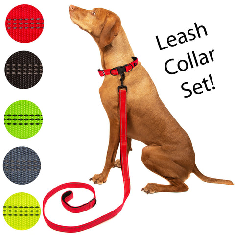 Pet Dog Collar Leash Nylon Adjustable Comfort Padded Size S M L XL Black Red