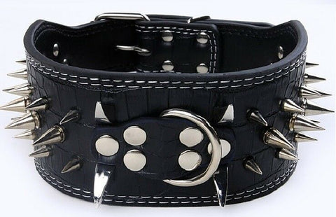 "3"" WIDE RAZOR SHARP Spiked Studded PU Leather Dog Pet Collar 3ROWS 19-22"" 21-24"""