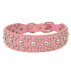 Studded Rivet Spiked Metal Dog PU Leather Collar Black Red Pink Brown Small S M