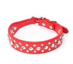 Pretty Diamond Crystal Rhinestone Leather Bling Collar Dog Puppy Cat Kitten XS S