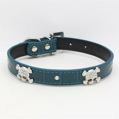 SKULL Diamond & Crystal Rhinestone Leather Dog Collar Puppy Cat XS S Small Bling