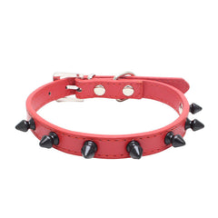 Small Spiked Studded Rivets Dog Pet Leather Collar Black Red White Toy Mini XS S