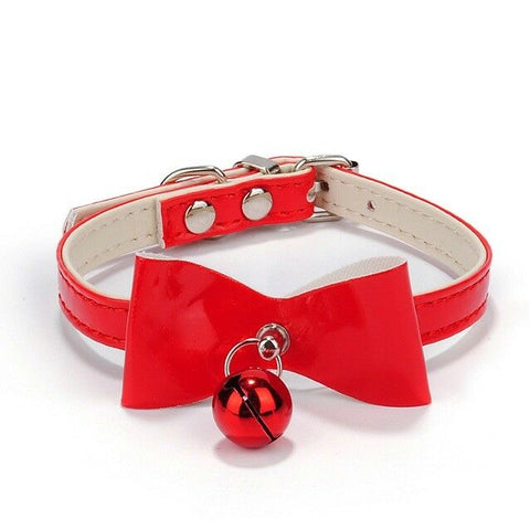 Small Collar Dog Cat Velvet Bow Pet Puppy Bell Kitten Christmas Necktie BowTie S