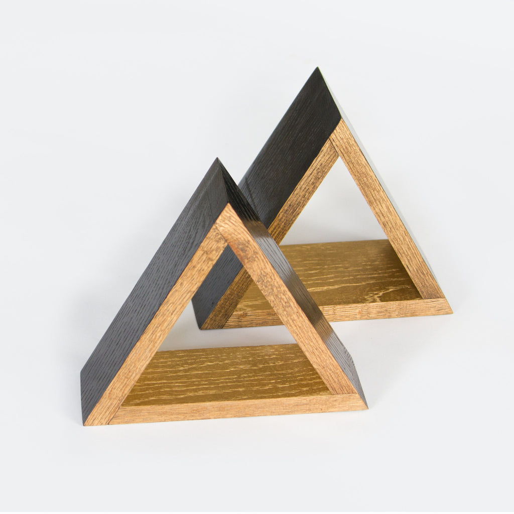 Black and Gold Oak Triangle Pair