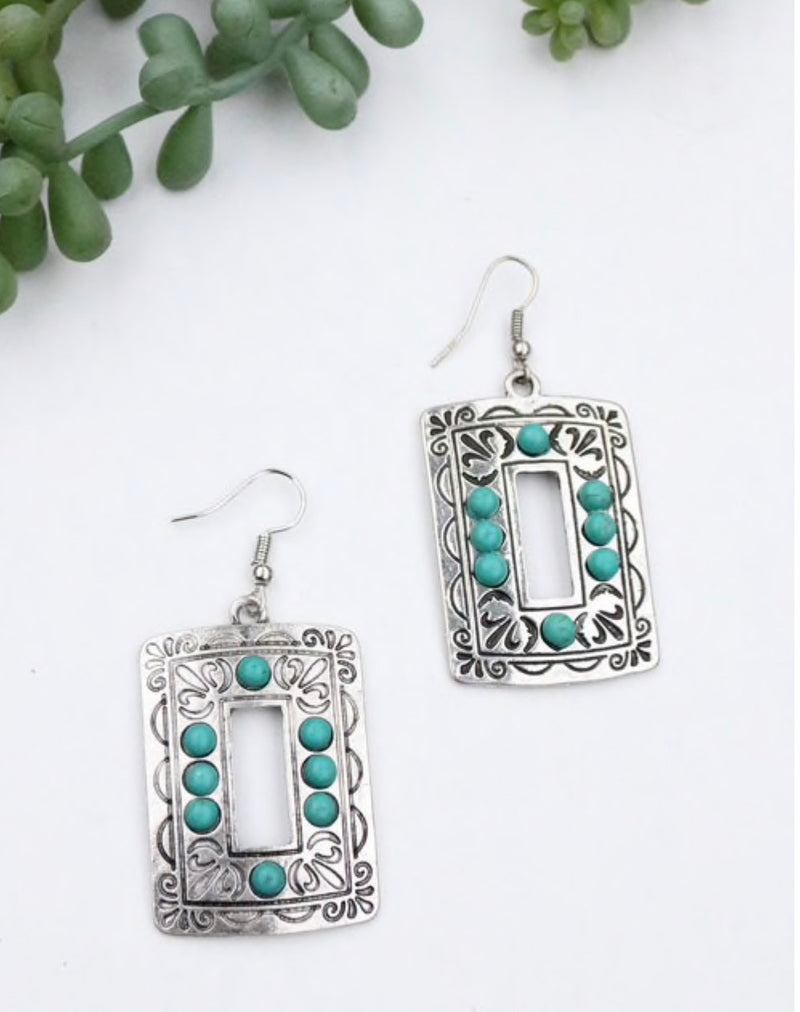 Silver Turquoise Rectangle Earrings by West & Co.