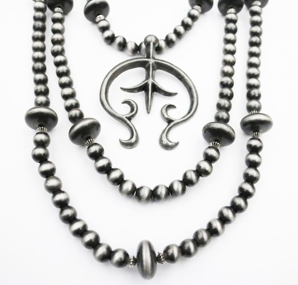 Silver & Black Rondell Y Necklace